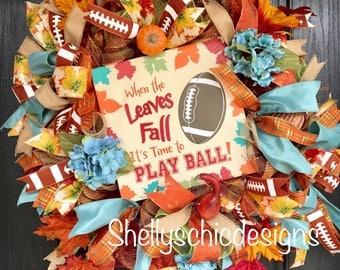 Delixe Fall Deco Mesh Wreath, Autumn Deco Mesh Wreath, Football Wreath, Fall Mesh wreath, Front Door Wreath, Autumn Mesh wreath,