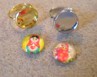 SET of 2 brackets rings children 7 + 2 original cabochons