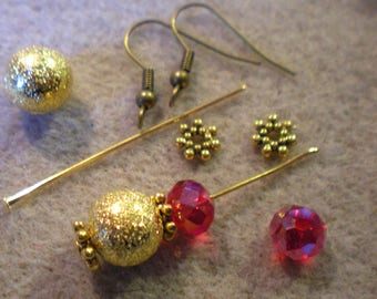 BO YOGA Kit * red and gold STARDUST beads * bronze hooks