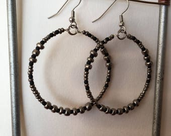 Gypsy Hoops in Gunmetal and Jet Black