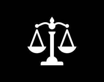 Law Scale Decal, Justice Scale,Scale of Justice Vinyl Decal Sticker,Lawyer Decal,Lady Justice,Car Truck Tumbler Yeti Cooler Laptop Tablet