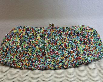 Vintage 30's 40's Multi Color Rainbow Glass Seed Beaded Baguette Clutch Purse / Evening Handbag  Art Deco