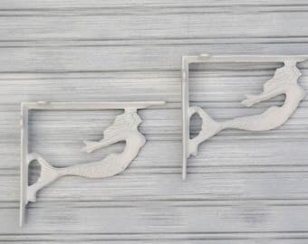 Set of two mermaid brackets. Mermaid Shelf Bracket. Beach Decor. Nautical Decor. Coastal Decor. Wall decor.Mermaid. Nursery Decor