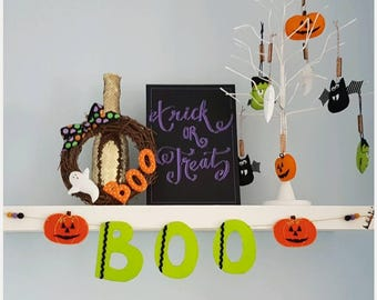 BOO Halloween pumpkin handcrafted felt bunting