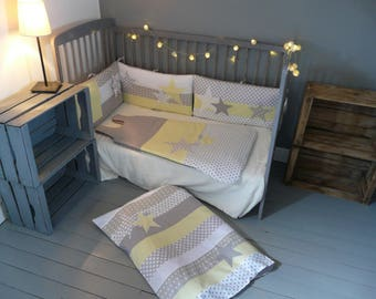 tour de lit chouettes et toiles jaune et gris. Black Bedroom Furniture Sets. Home Design Ideas
