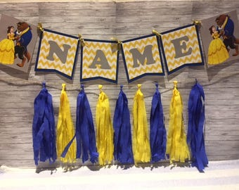 Beauty and the Beast / Belle Birthday Party Wall Tassel Garland, Personalized Name Banner Bunting, Handmade Decorations