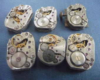 Set of 6 antique watch movement Steampunk crafting  Lot 108
