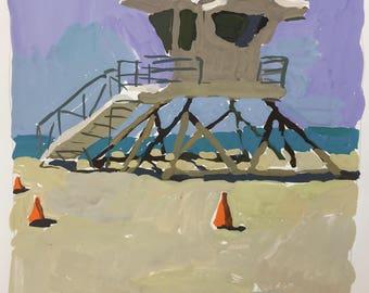 "1""Huntington Beach"" Original Gouache Painting 8"" x 8"""