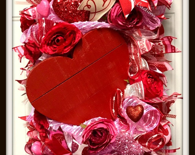 Valentine's Day Red Heart Wreath Swag