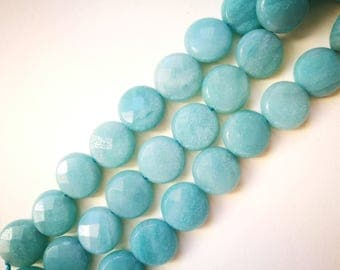 1 lot 5 12x5.5mm AMAZONITE natural stone faceted flat round beads