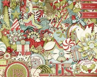 On Sale 50% Christmas, Holiday, Tis The Season, Digital Scrapbook Kit, Scrapbooking