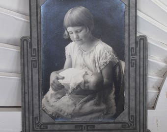 Vintage Studio Portrait Young Girl Holding Doll 1920s