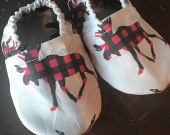 Plaid Moose Baby Booties