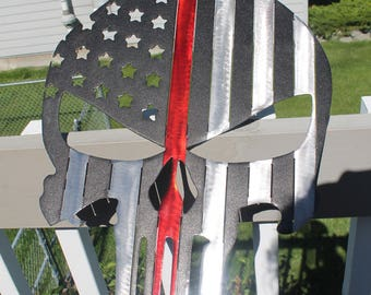 Punisher Flag wall art with red line