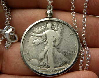 1927 authentic vintage silver walking liberty half dollar coin necklace pendant sterling silver chain 16 or 18 or 20 or 22 or 24 or 30 inch