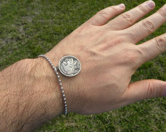 Authentic Buffalo Indian Nickel coin Various dates pendant bracelet anklet  tribal surfer style handmade stainless steel  ball chain