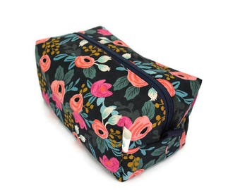 Boxy Bag -Toiletry Bag - Dopp Kit -Travel Bag -Makeup Bag - Accessory Bag - Wash Bag - Wet Bag - Rifle Paper Co - Navy Rosa