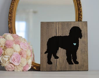 Hand Painted Goldendoodle or Labradoodle Silhouette on Stained Wood, Decor, Dog Painting, Gift for Dog People, Puppy Gift, Housewarming Gift