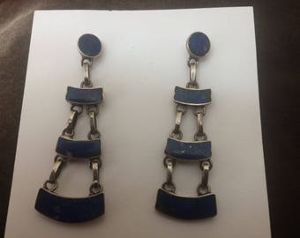 Vintage Sterling and Lapis Earrings 925