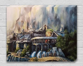 Rivendell and The Fellowship of the Ring - Tolkien Lord of the Rings LOTR / Hobbit Canvas Art Print
