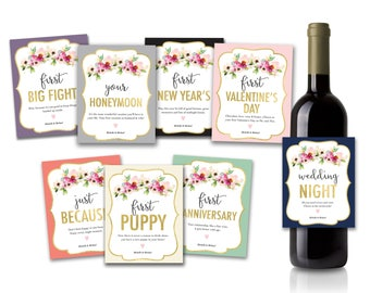 Wedding Wine Label Gift Set of 8 | Marriage Moments, Marriage Milestone, Wine Labels