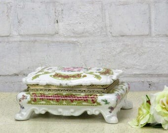 Lidded Trinket Jewelry Box Ceramic Alfa Ceramiche Italy Ornate Romantic Flowers