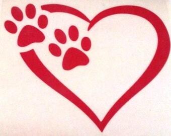 Paws & Heart Vinyl Decal