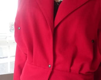 1980s - Bomber style -Red Felt - Batwing - Jacket - Ketchup red - Iconic style