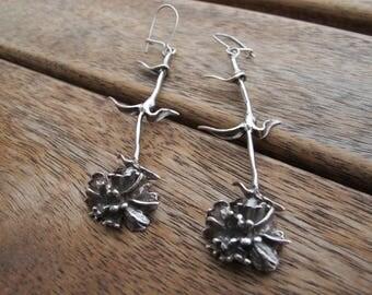 Silver Flower Earrings, Long Flower Earrings, Sterling Silver Earrings, Silver Dangle Earrings, Nature Earrings, Very Long Earrings