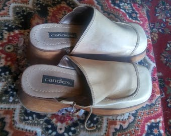 Vintage Candies Wooden Clogs 1980's Mod Witchy Hippie