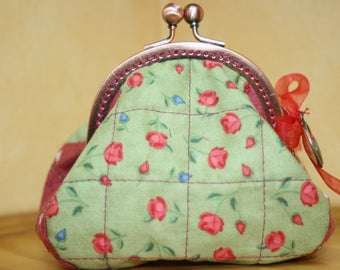 Wallet in red and green fabric
