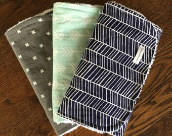 Gender neutral burp cloths • modern baby gift • Baby shower gift • Navy Herringbone • Gray X's • Aqua arrows • modern baby