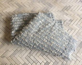 English Powder Blue Cotton Tweed Eyelash Fabric