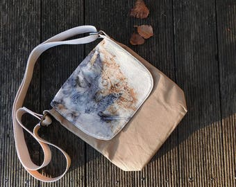 Eco printed bag. Tan bag. Mini messenger bag.  Cross body bag . Shoulder bag. Leaf print bag. Cotton Bag. fabric bag.