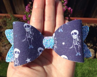 "halloween dancing skeletons glitter fabric 4.75"" hair bow"