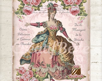 French Vintage Shabby Chic Marie Antoinette Instant Digital Download Printable Graphic Transfer Image 0900