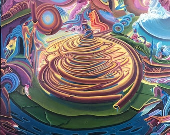 Original acrylic painting on canvas, psychedelic artwork, free shipping in the US