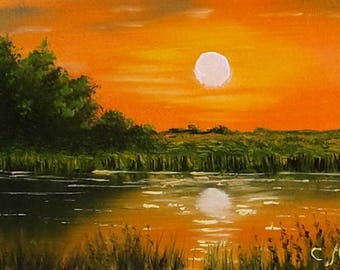 Original ACEO landscape oil painting SUNSET at RIVER 2.5 x 3.5""