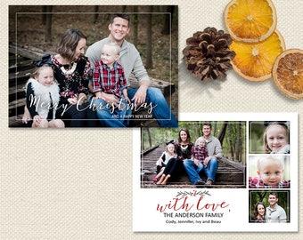Photo Christmas Card| Rustic Photo Christmas Card| Holiday Photo Card| Watercolor Christmas Card| Printable Christmas Card| Merry Christmas