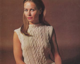 1960's Cable Knit Sweater Pattern | Hard Copy Vintage Knitting Pattern | Sleeveless Sweater Jumper | 34 36 38 40 Bust | Sirdar 2383