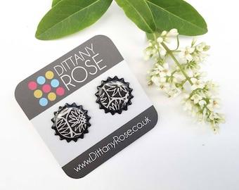 Black stud earrings, paper earrings, contemporary jewellery, black and white earrings, gift for friend,  geometric jewellery