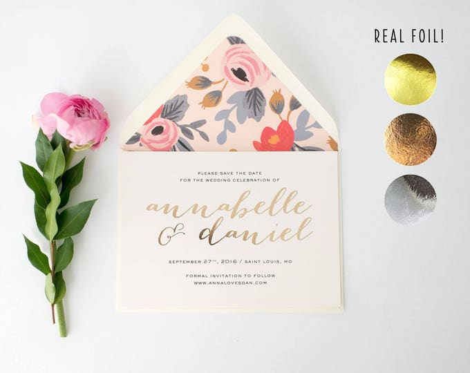 annabelle gold foil save the date invitations  // rose gold foil silver foil rifle paper floral modern calligraphy custom romantic invite