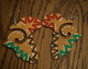 RBG Triangle Design on Brown Africa Earrings