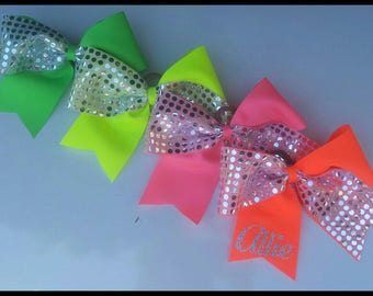 Cheer bow with silver sequins and personalized and in tons of colors