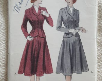40s/50s Suit Pattern Butterick 3518 Size 16 Bust 34 Vintage Sewing Pattern