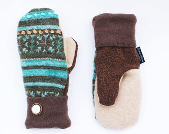 Blue Wool Sweater Mittens, Turquoise Striped Mittens, Recycled Sweater, Women's Mittens Fleece Lined Sweaty Mitts Brown Sweaty Mitts Felted