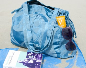 Blue fabric tote bag