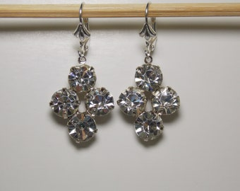 Vintage Clear Rhinestone and Silver Earrings