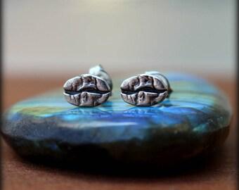 Espresso bean post earrings, Coffee bean earrings