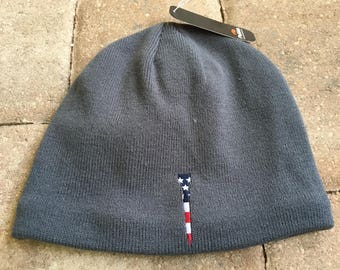 Golf Fleece Lined Knit Hat with Embroidered Tee Design - Available in Slate or Khaki | Great Golf Gift Item